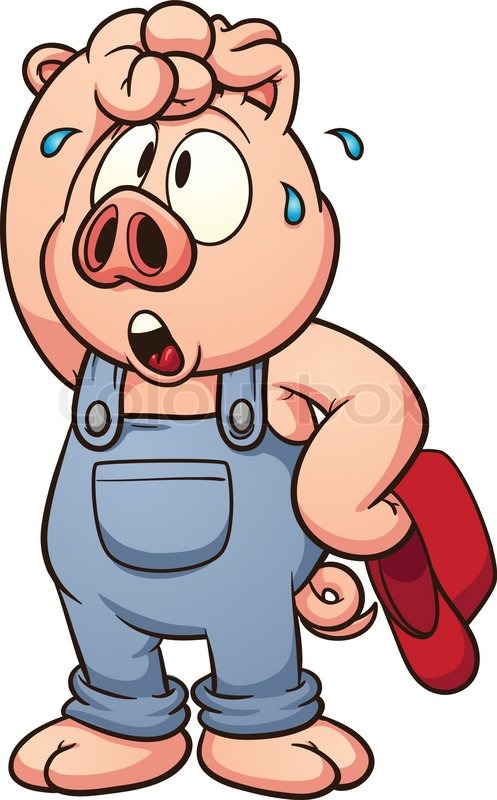 497x800 Tired Cartoon Pig. Vector Clip Art Illustration With Simple