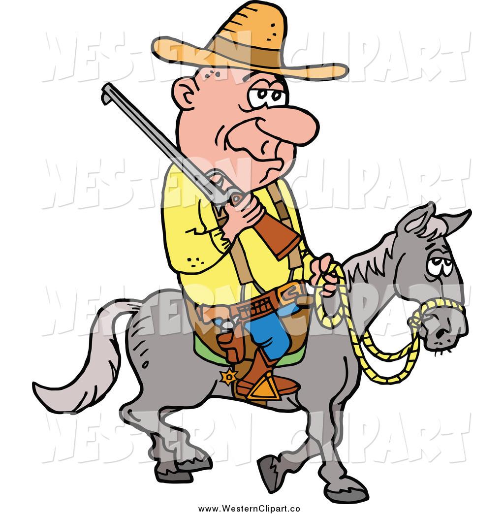1024x1044 Vector Cliprt Of Tired Old Cowboy Riding Horseback