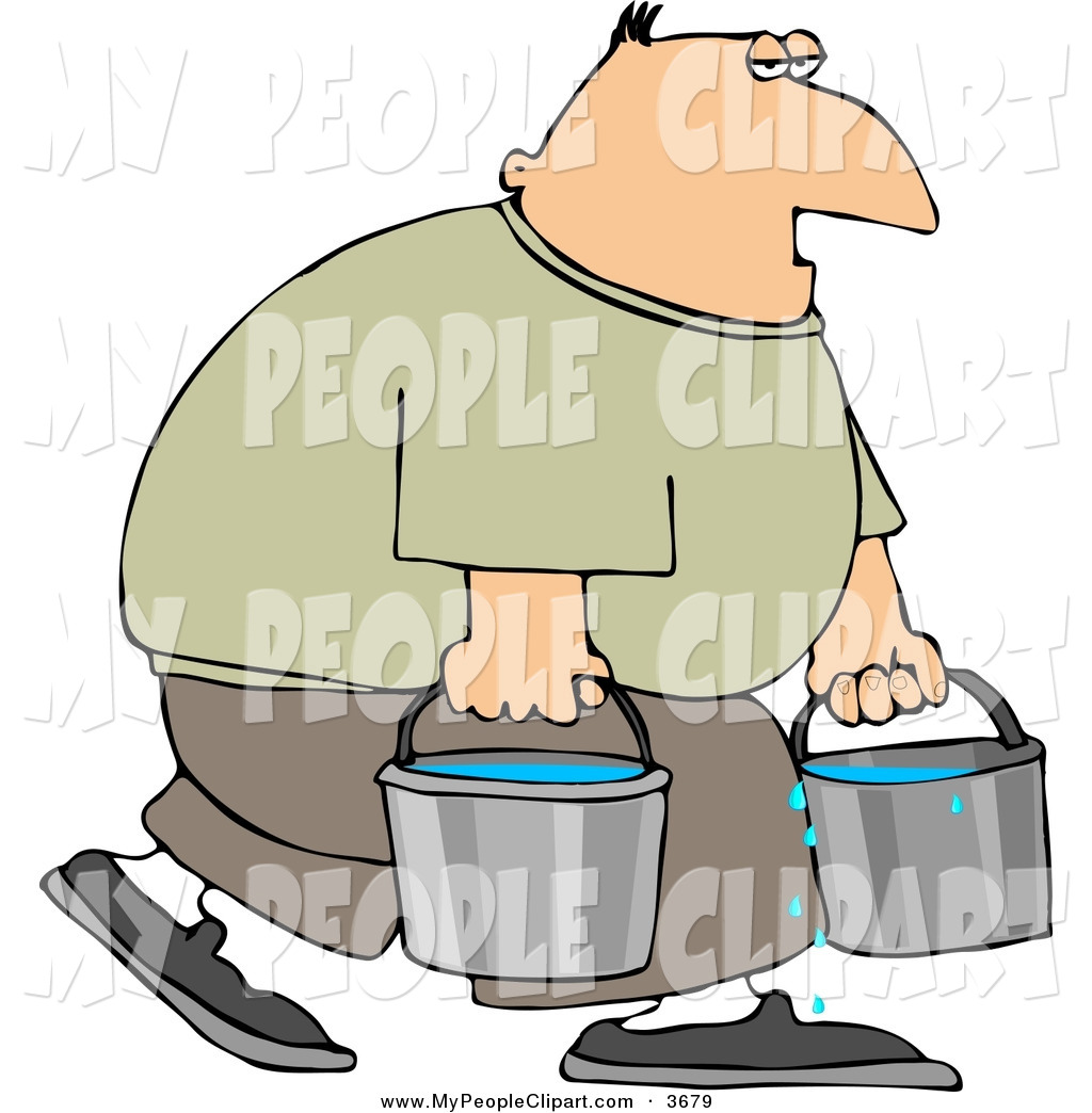 1024x1044 Clip Art Of A Tired Man Carrying Buckets Of Water To The Right By