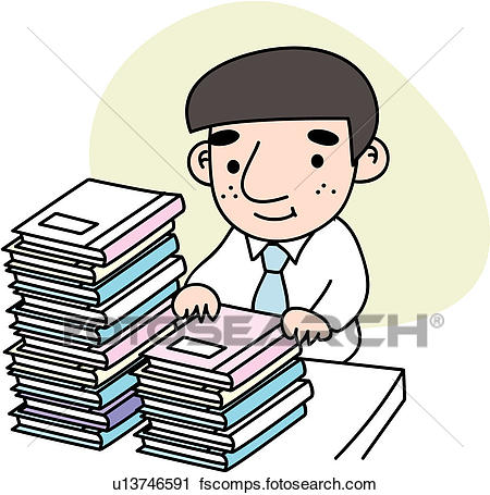 450x455 Clipart Of Heaped, Stress, Document, Job, Tired, Businessman