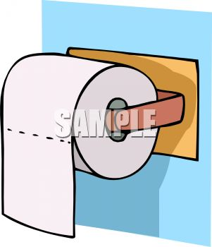 301x350 Royalty Free Clipart Image Toilet Tissue On A Plastic Dispenser