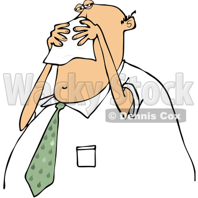 400x400 Of Cartoon Chubby White Business Man Blowing His Nose Into