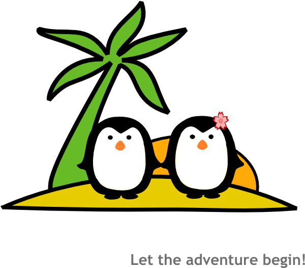 600x526 Two Penguins At Beach Clip Art