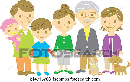 450x283 Clipart Of Family, Together, Full Length K14715783