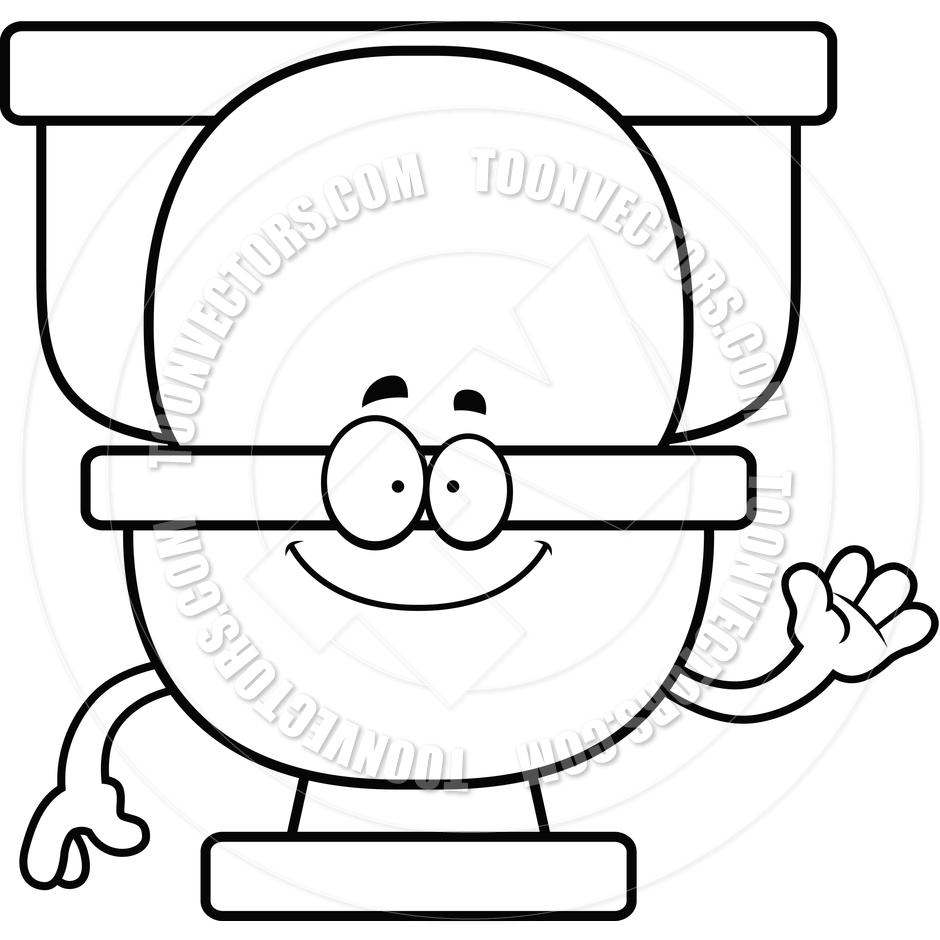 940x940 Cartoon Toilet Waving Black And White Line Art By Cory Thoman