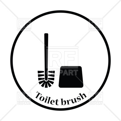 400x400 Thin Circle Design Of Toilet Brush Icon Royalty Free Vector Clip