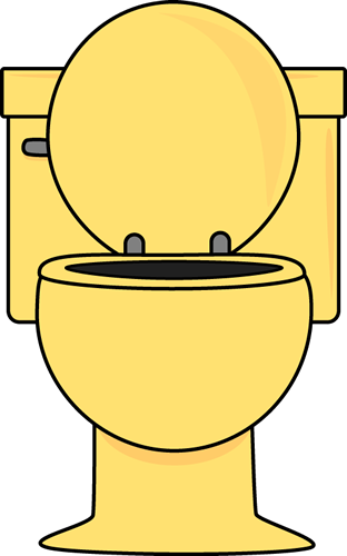 312x500 Yellow Toilet With Lid Up Clip Art