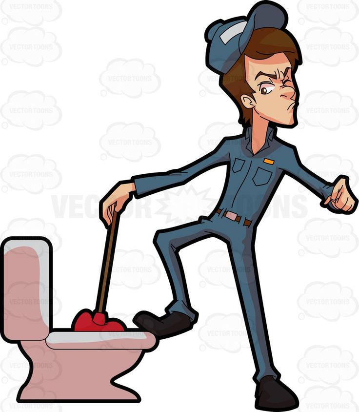 736x844 A Plumber Trying To Fix A Clogged Toilet Toilet