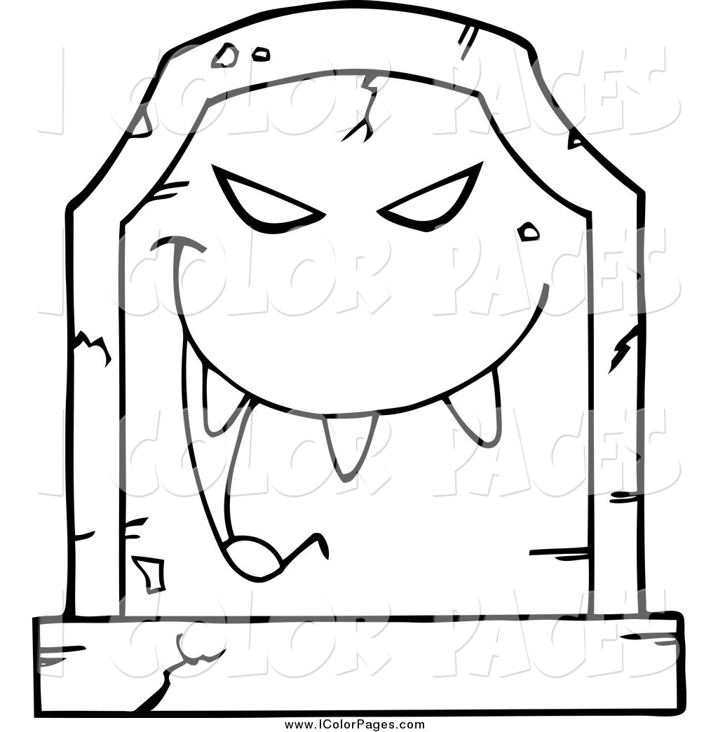1024x1044 Vector Coloring Page Of A Black And White Laughing Evil Headstone