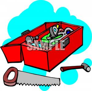 300x297 Hammer And Saw Outside A Toolbox Clip Art Image