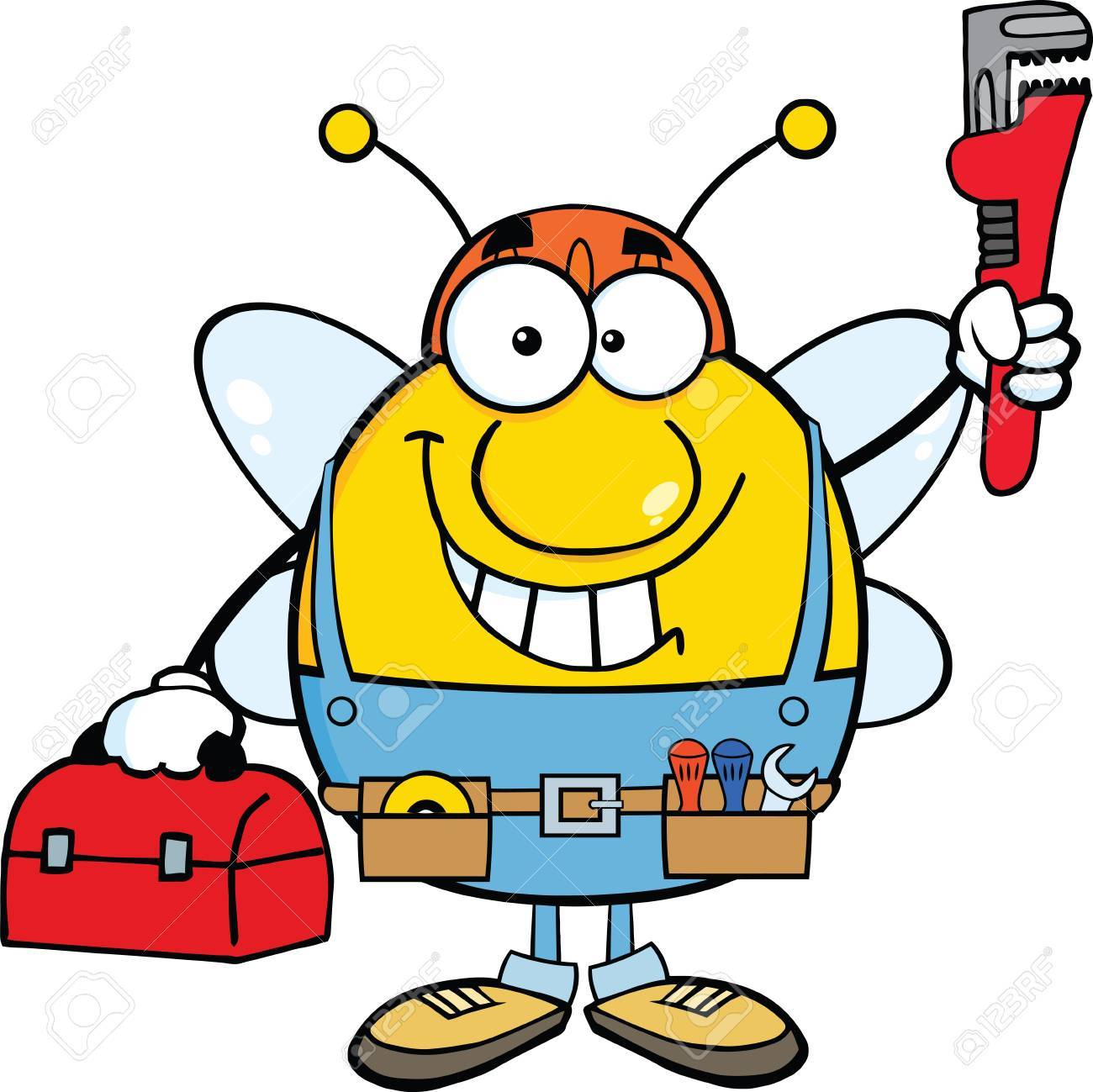 1300x1299 Pudgy Bee Plumber With Wrench And Tool Box Royalty Free Cliparts