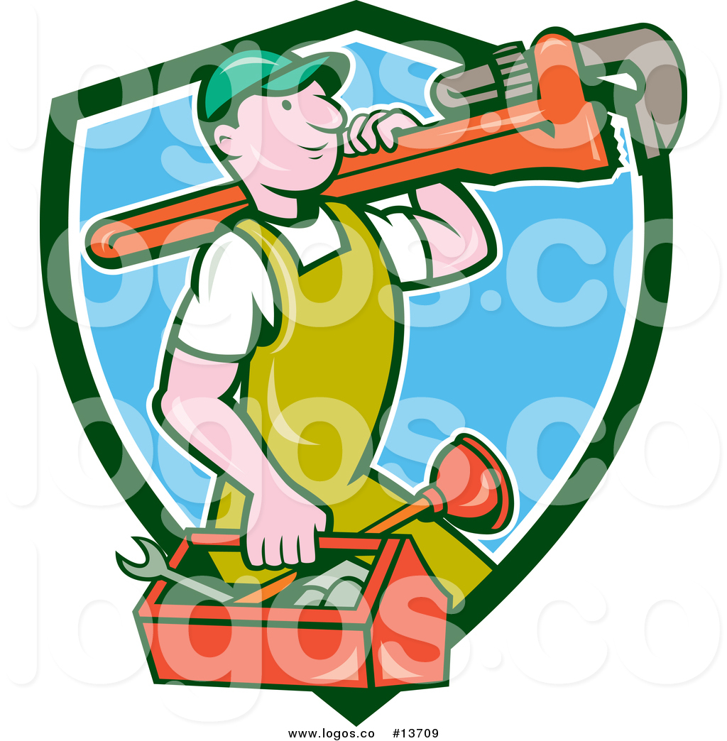 1024x1044 Royalty Free Vector Logo Of A Cartoon Caucasian Male Plumber
