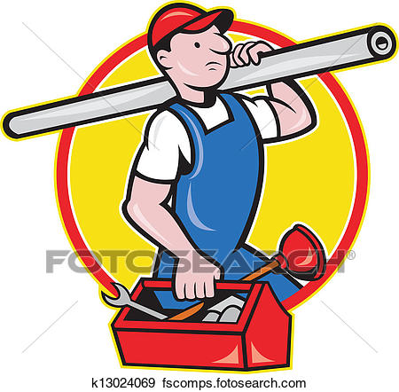 450x442 Clip Art Of Plumber With Pipe Toolbox Cartoon K13024069