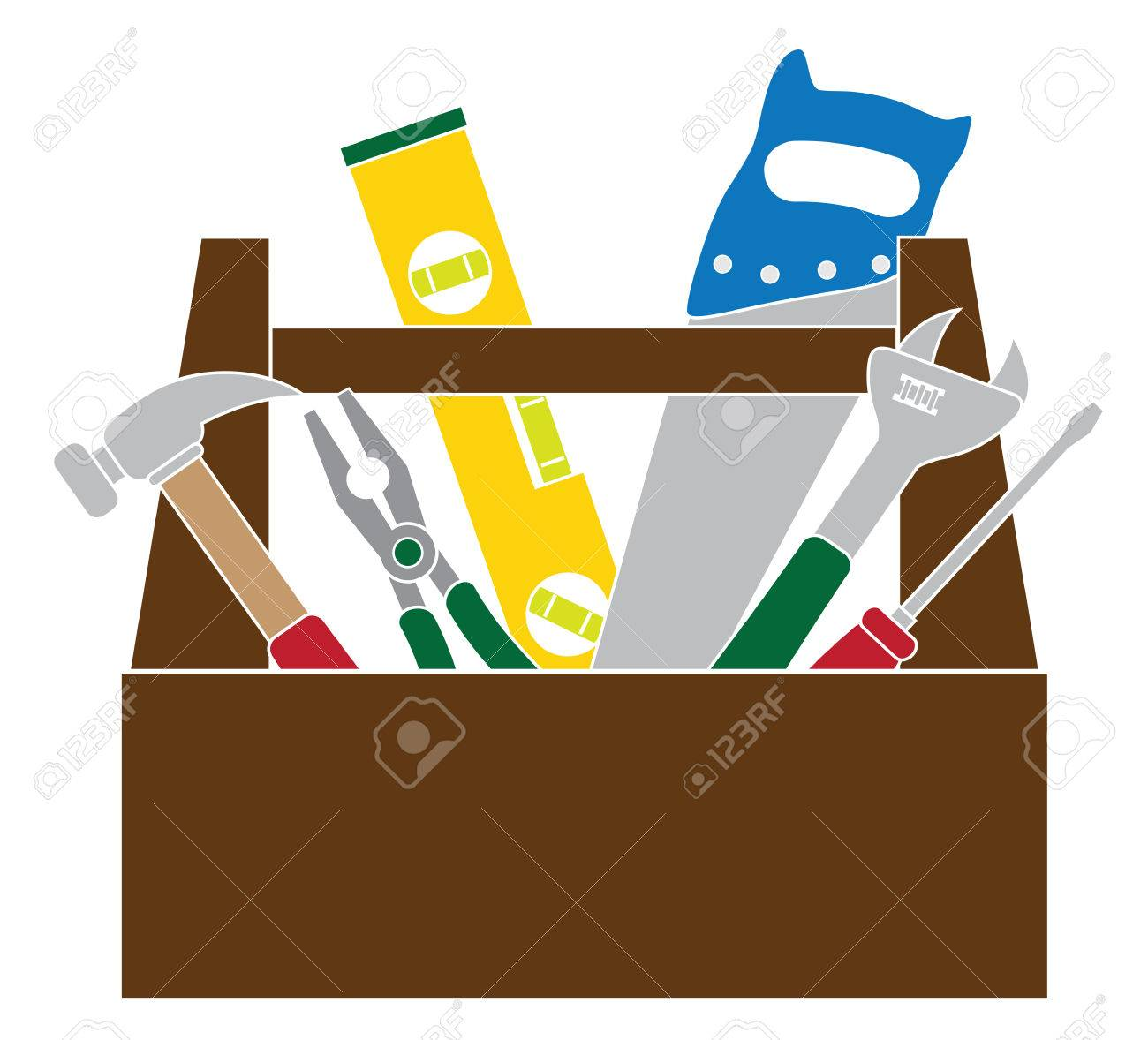 1300x1178 Wood Tool Box Clip Art. Toolbox On A White Background Vector