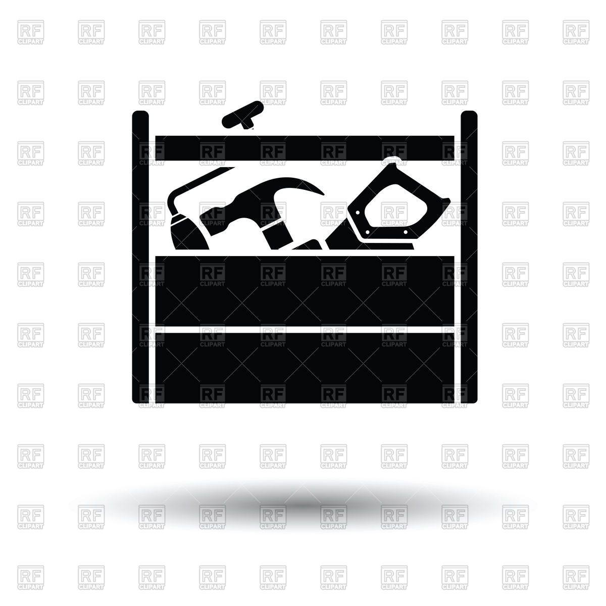 1200x1200 Wooden Tool Box Royalty Free Vector Clip Art Image