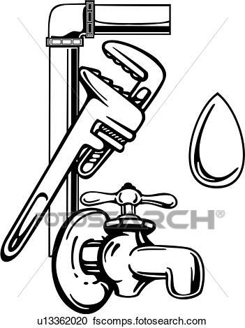 351x470 Clipart Of , Elements, Faucet, Occupations, Plumbing, Sign, Spigot