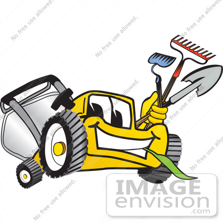 450x450 Clip Art Graphic Of A Yellow Lawn Mower Mascot Character Facing