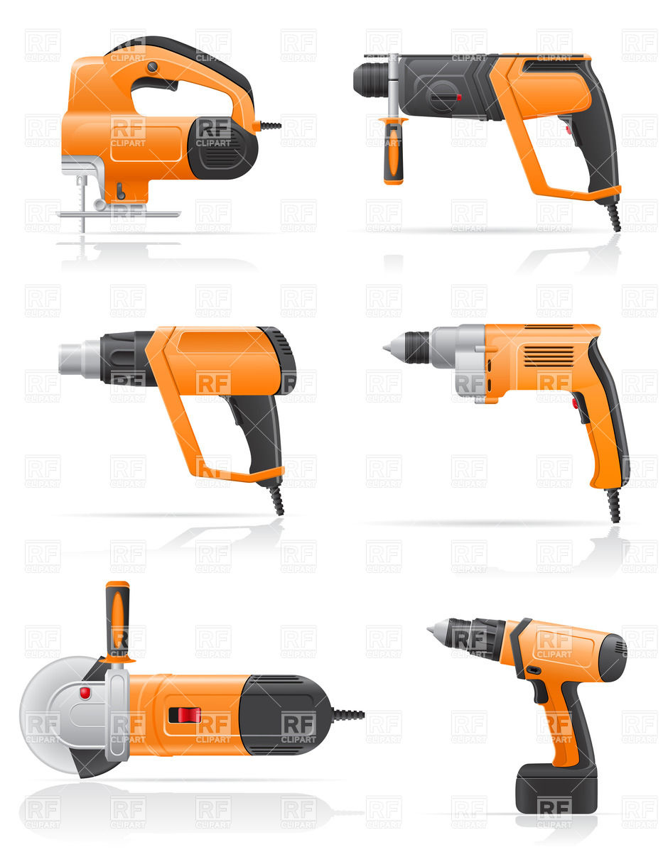 933x1200 Electric Tools Set Royalty Free Vector Clip Art Image