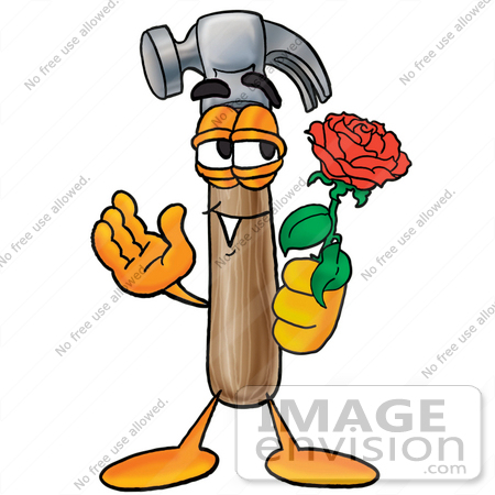 450x450 Clip Art Graphic Of A Hammer Tool Cartoon Character Holding A Red