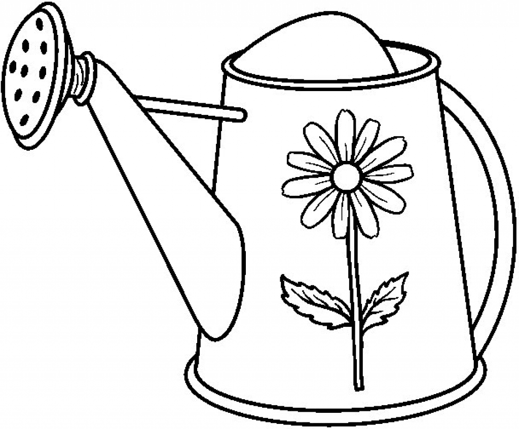 1024x848 Free Printable Watering Can Coloring Page 26 With Additional