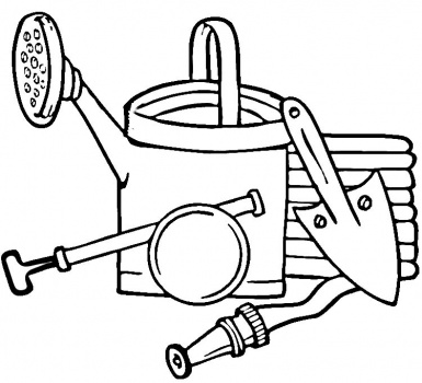 385x350 Garden Tools Coloring Page Super Coloring For Chase