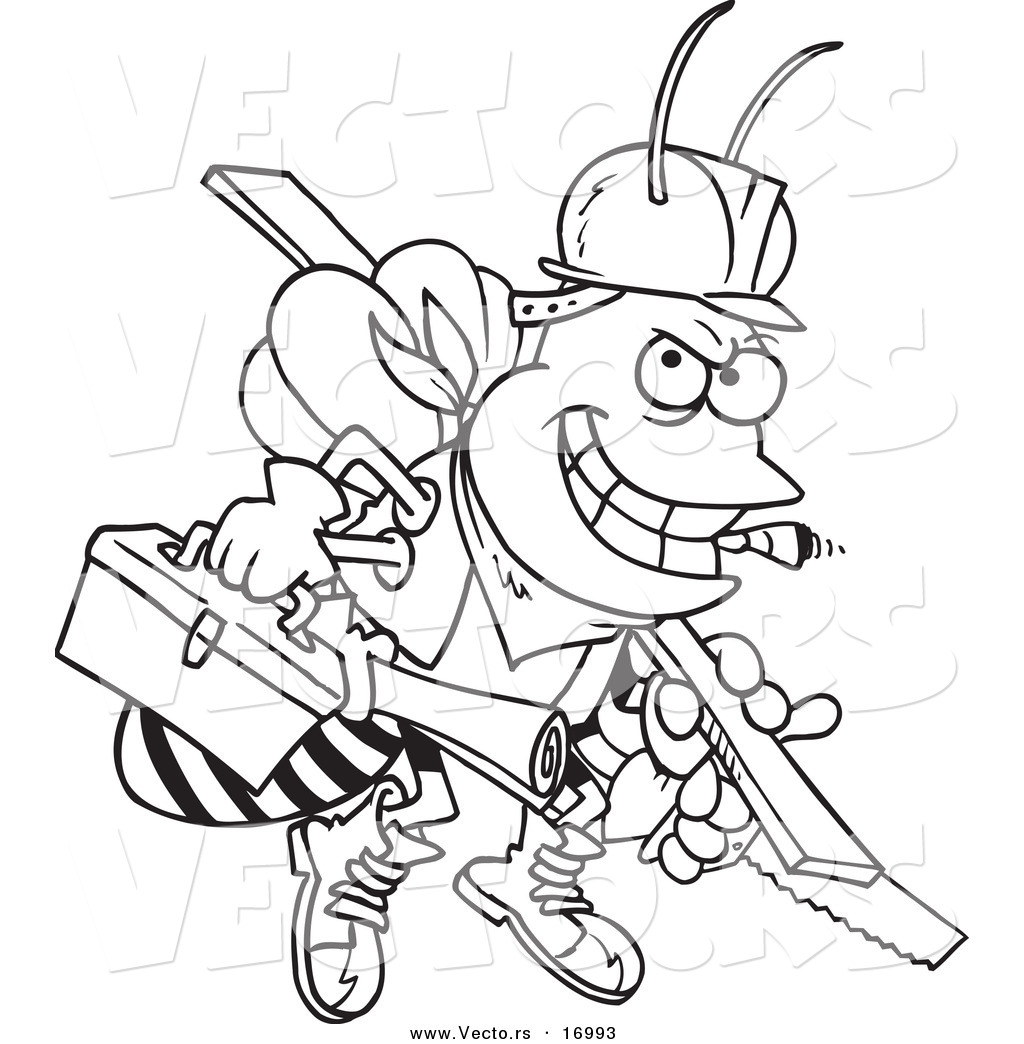 1024x1044 Vector Of A Cartoon Worker Bee Carrying Tools