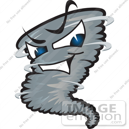 450x450 Clip Art Graphic of a Tornado Mascot Character With Evil Blue Eyes