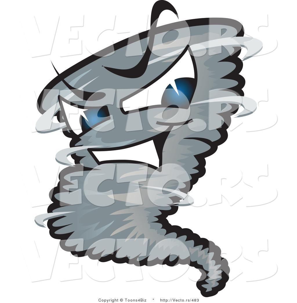 1024x1044 Vector of an Intimidating Dark Cartoon Tornado Character by