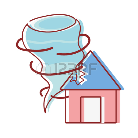 450x450 House With Tornado Storm Disaster Weather Vector Illustration