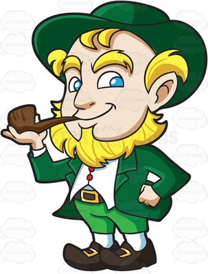 303x400 A Happy Leprechaun Smokes A Pipe At A Tornado Cartoon Clipart