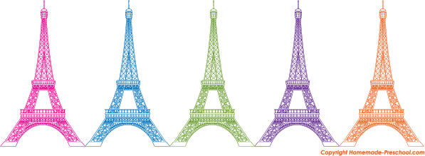 Eiffel tower color. Torre vector clipart free