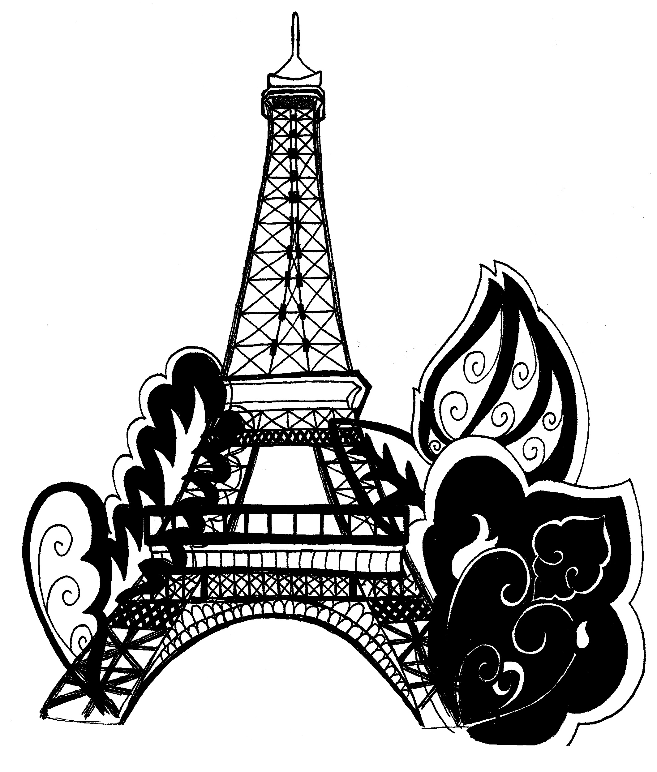 2124x2496 Eiffel Tower Clipart Coloring Page