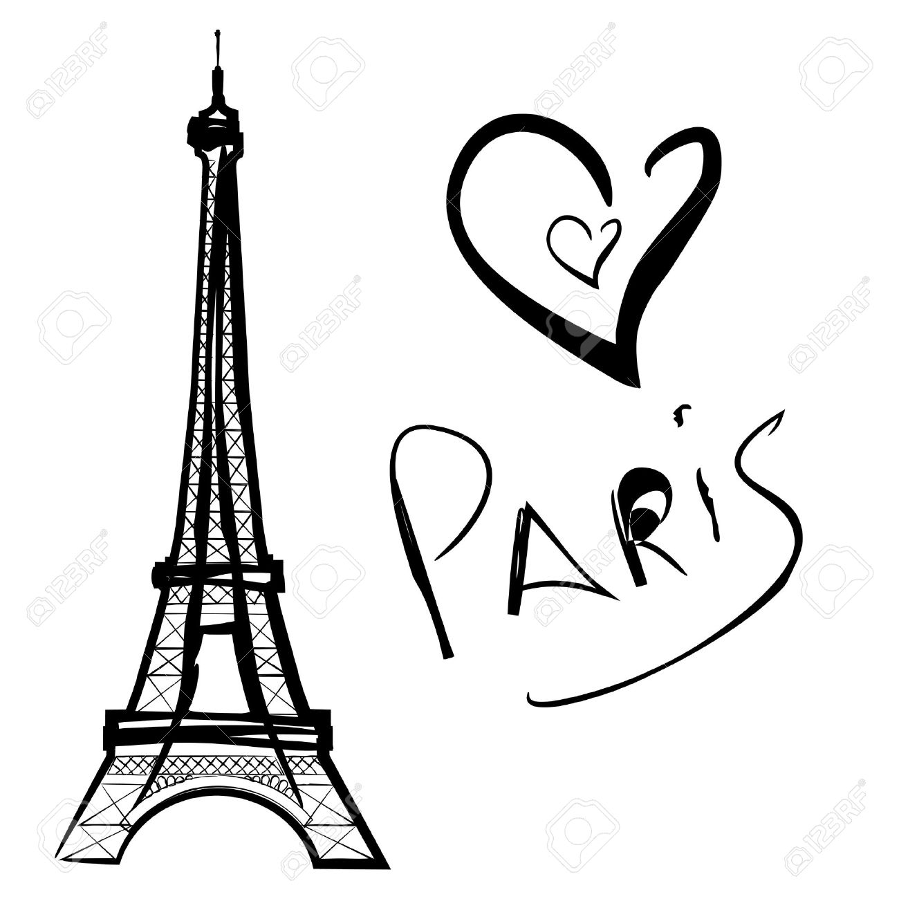 1300x1300 Vector Illustration Of Paris, The Eiffel Tower Royalty Free