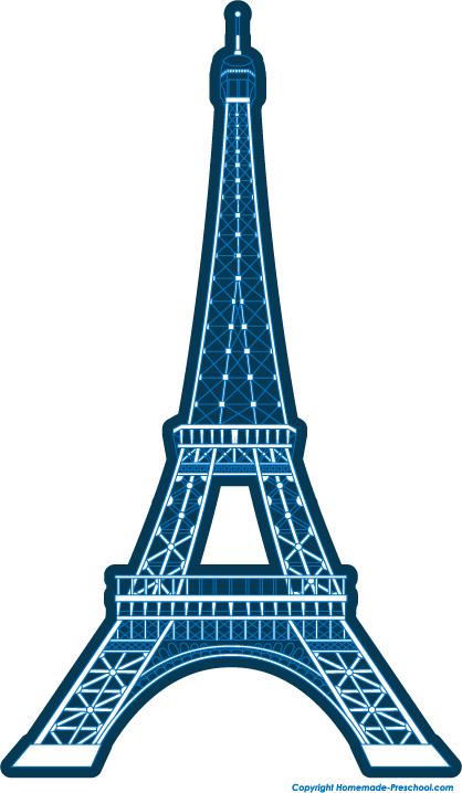 418x718 Blue Simple Eiffel Tower Clipart