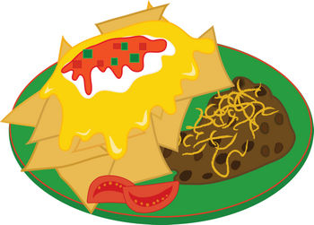 350x251 Clipart Illustration Of A Nacho Plate With Refried Beans