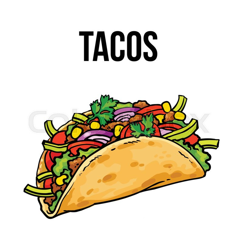 800x800 Taco Coloring Book. Traditional Mexican Food In Linear Style