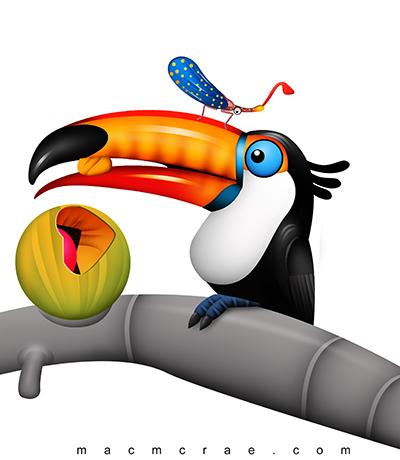 400x460 Cartoon Toucan Toucan Eating Tropical Fruit