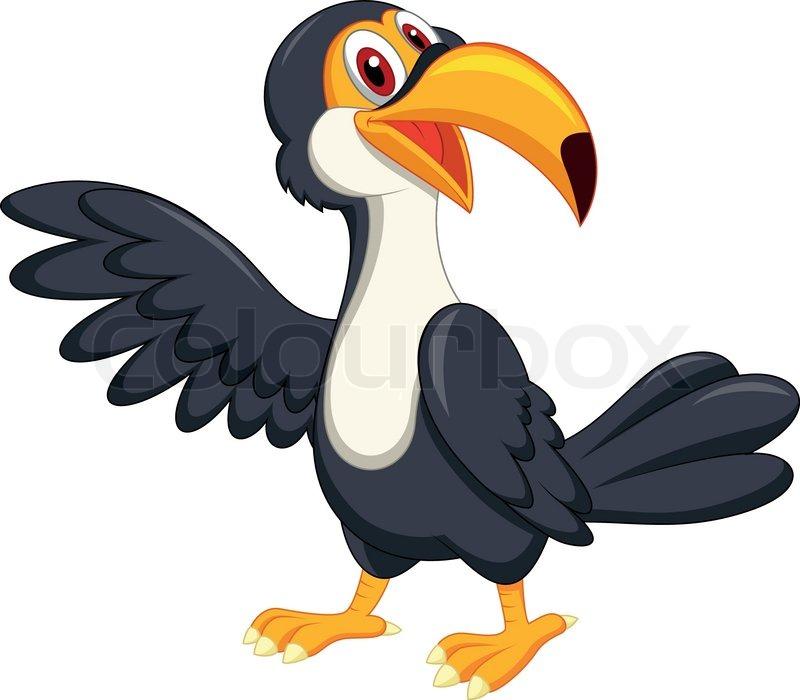 800x700 Vector Illustration Of Cute Toucan Bird Cartoon Waving Stock