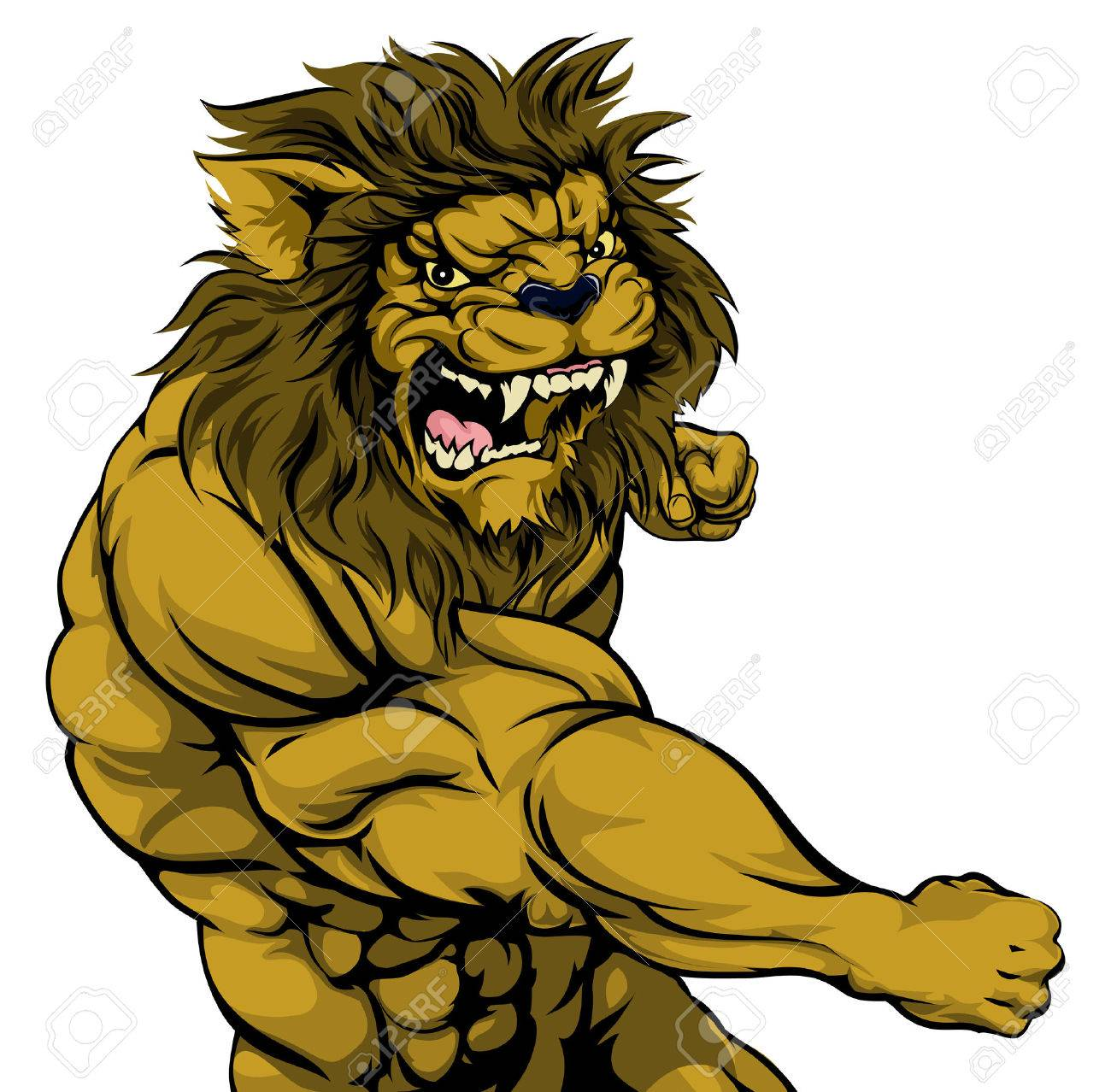 1300x1278 A Tough Muscular Lion Character Sports Mascot Attacking
