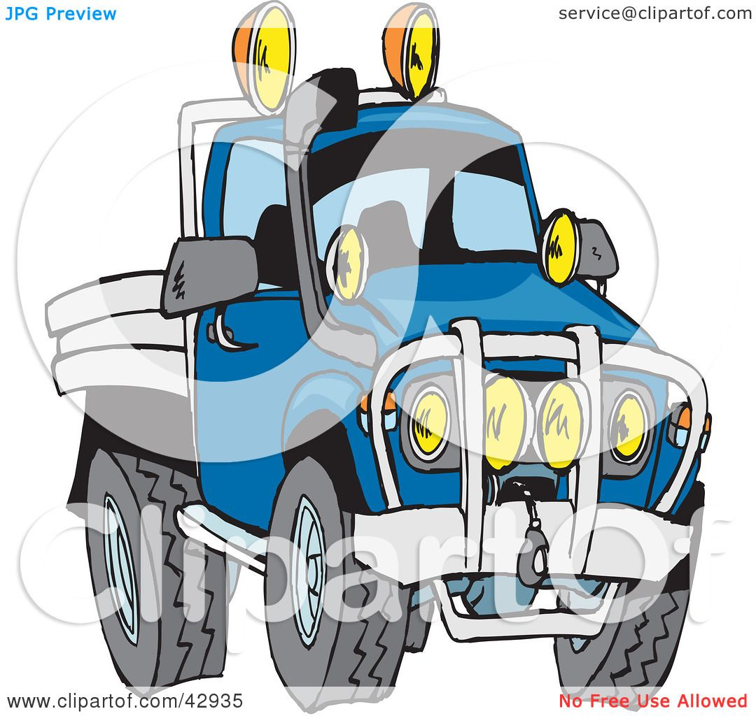 1080x1024 Clipart Illustration Of A Tough Blue Flat Bed Truck By Dennis