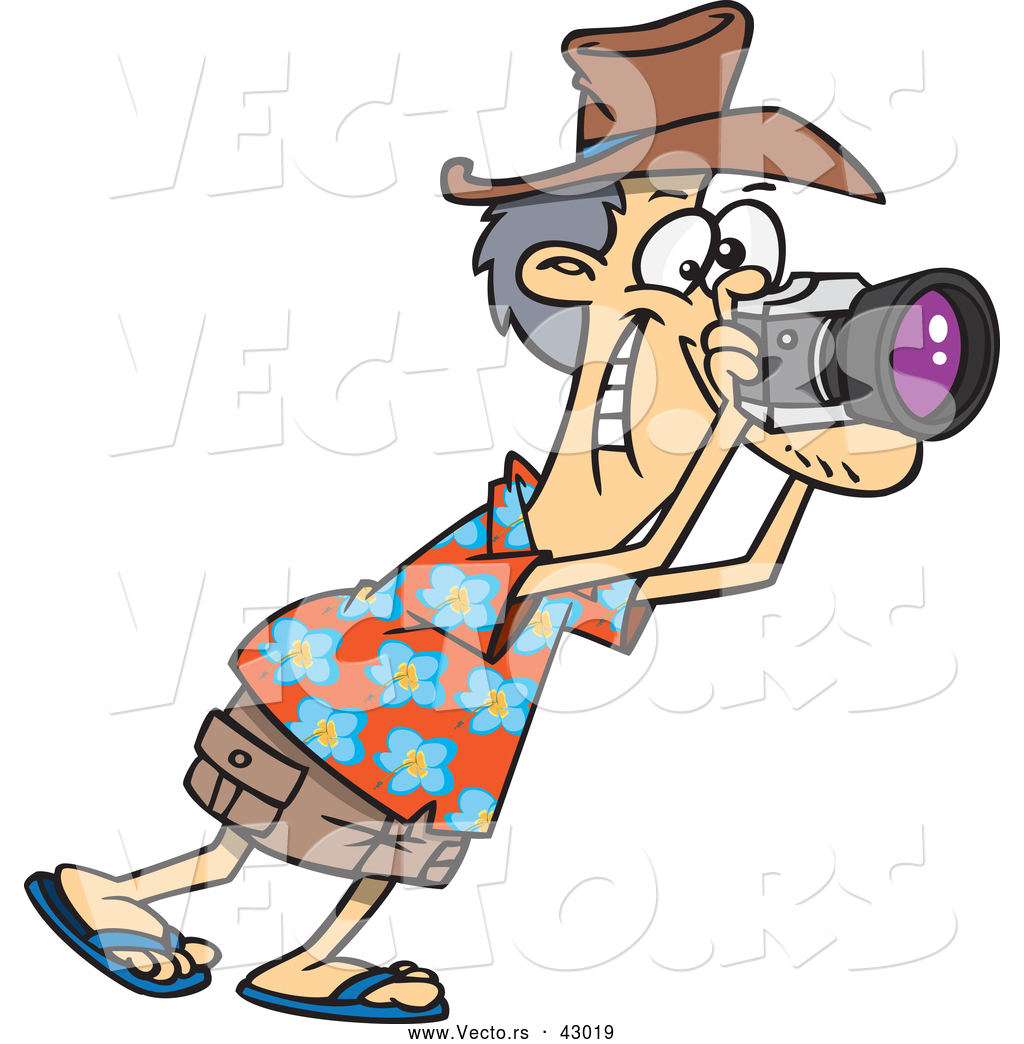 1024x1044 Vector Of A Happy Cartoon Male Tourist Taking Photographs With His