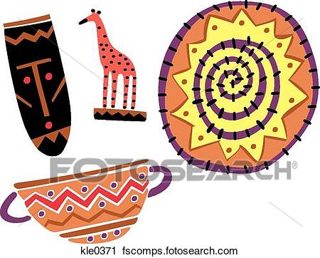 450x362 Clipart Of African Tourist Souvenirs And Crafts Kle0371