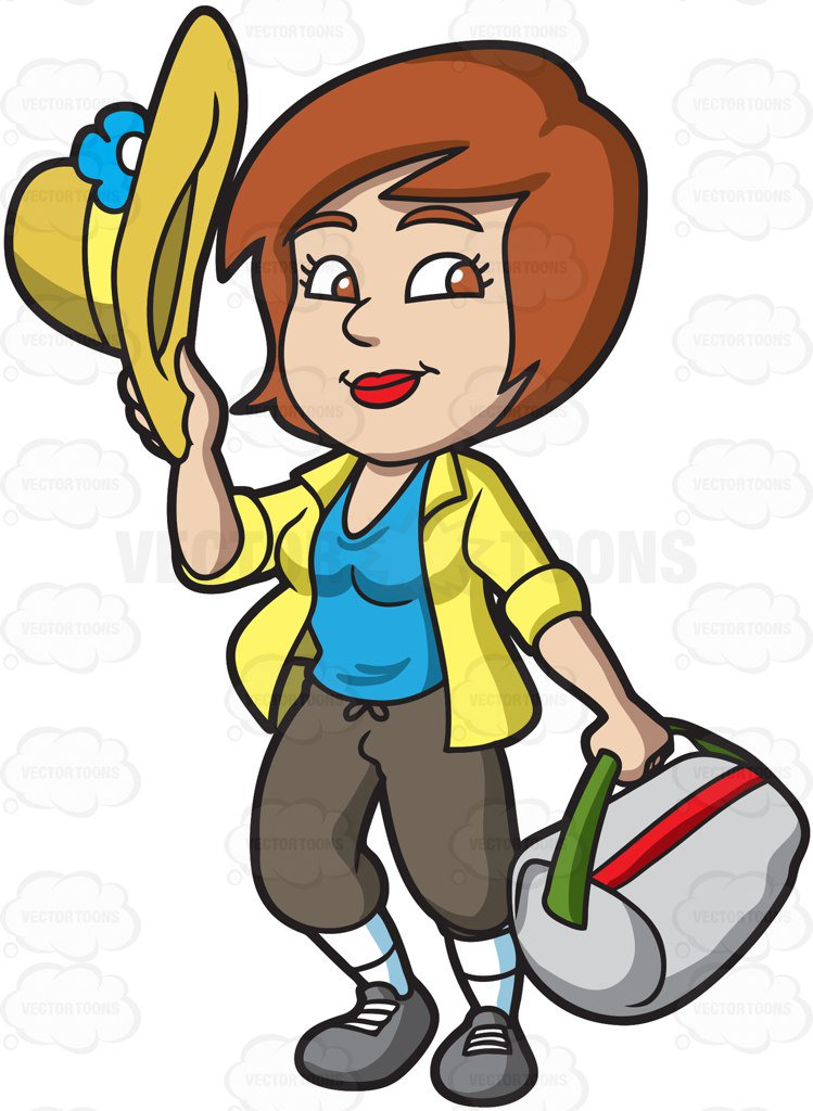 749x1024 A Happy Female Tourist Cartoon Clipart