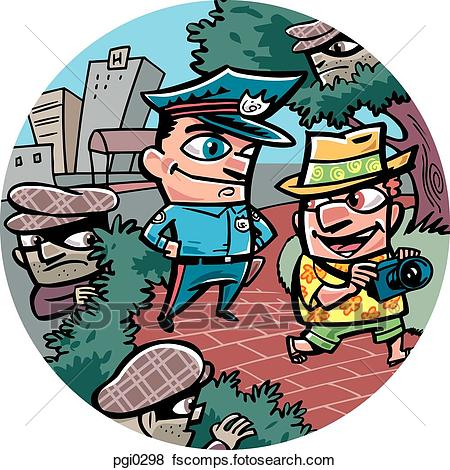 450x470 Stock Illustration Of An Oblivious Tourist Being Watched By