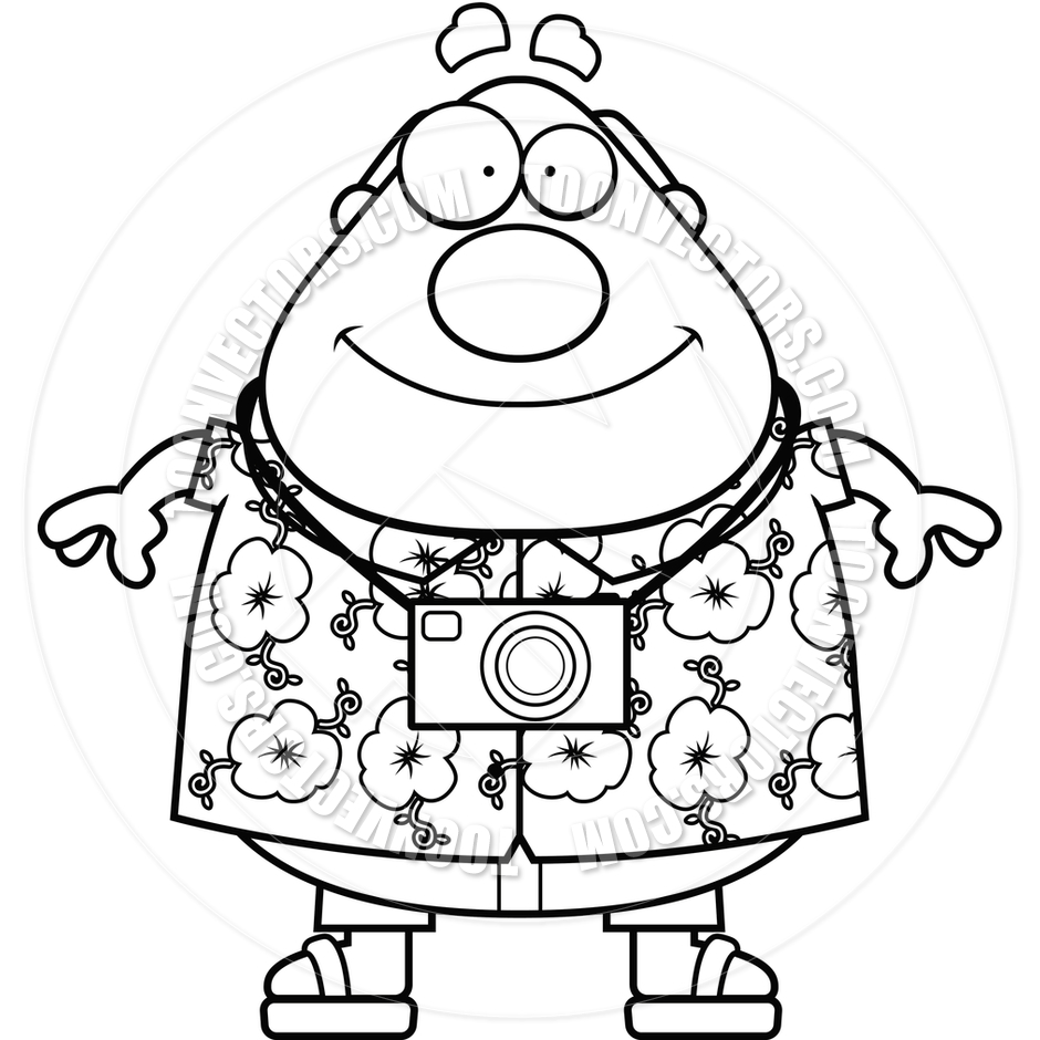 940x940 Tourist Smiling (Black And White Line Art) By Cory Thoman Toon