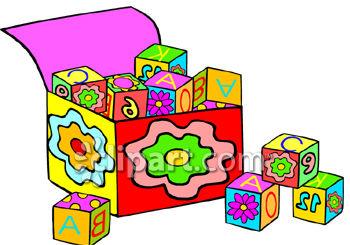 350x245 Royalty Free Clip Art Image Box Of Alphabet Blocks