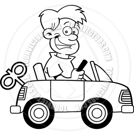460x460 Cartoon Boy Driving Toy Car (Black Amp White Line Art) By Kenbenner