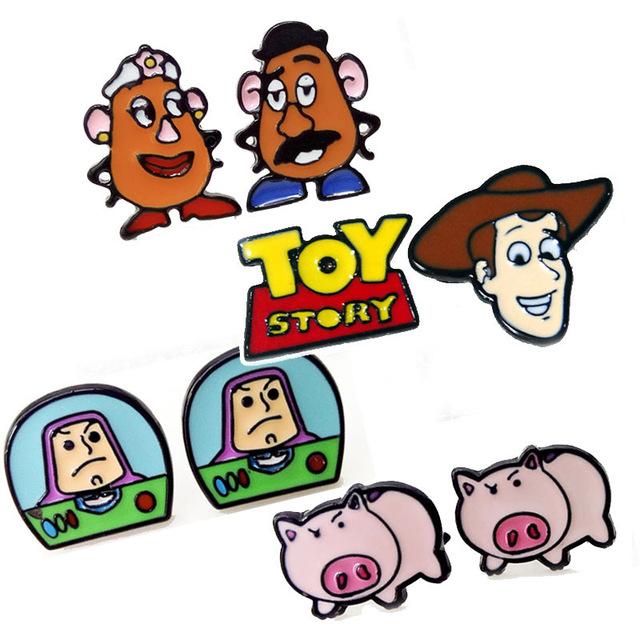 640x640 Cartoon Toy Story Woody Buzz Lightyear Earring Toys Jewelry