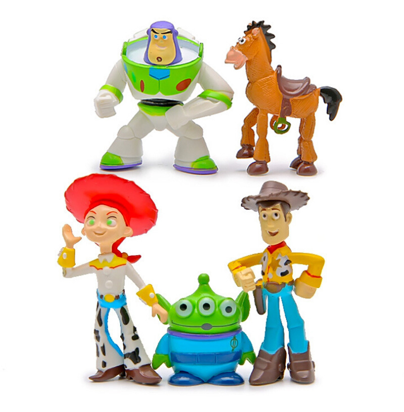 800x817 5pcset Toy Story Figures Movie Statue Woody Home Car Ornament