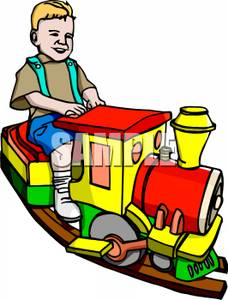 228x300 Smiling Toddler Riding On His Toy Train